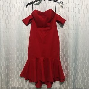 Red F21 Off the Shoulder Dress